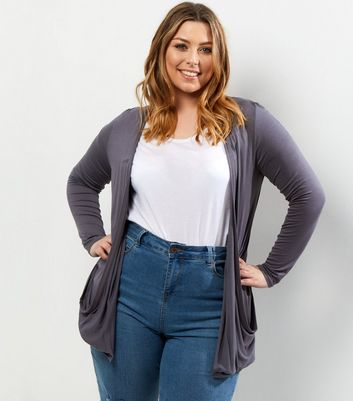 Curves Grey Boyfriend Cardigan