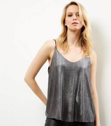 QED Pewter Metallic V Neck Ribbed Cami