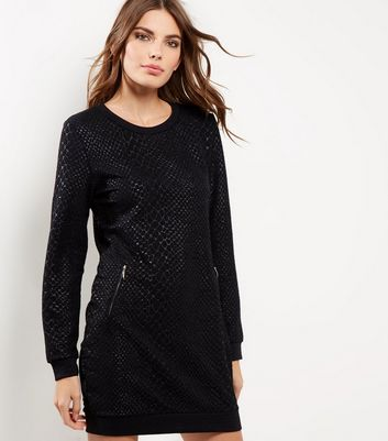 QED Black Snakeskin Print Jumper Dress