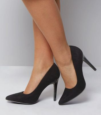 Wide Fit Black Suedette Contrast Heel Court Shoes