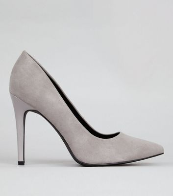 Wide Fit Grey Suedette Pointed Court Shoes