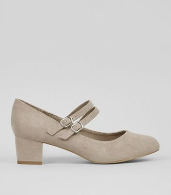 Extra Wide Fit Grey Suedette Double Cross Strap Court Shoes