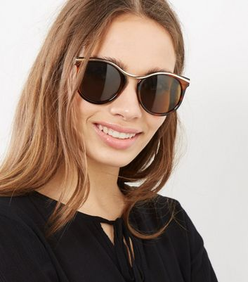 Brown Tortoiseshell Gold Trim Sunglasses