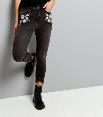 Black Fray Hem Embroidered Skinny Jenna Jeans