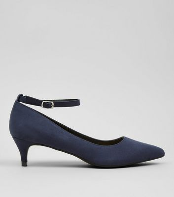 Navy Suedette Mid Heel Ankle Strap Court Shoes