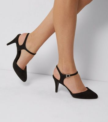 Wide Fit Suedette Ankle Strap Court Shoes