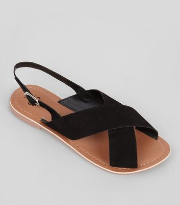 Teens Black Suede Cross Front Sandals