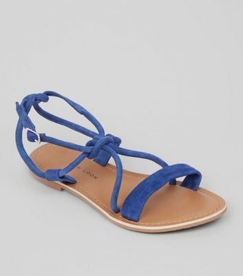 Teens Blue Suede Knot Strap Sandals