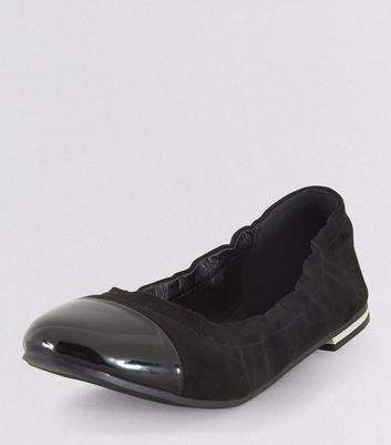 Teens Black Suedette Elasticated School Pumps