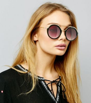 Black Round Double Bar Sunglasses