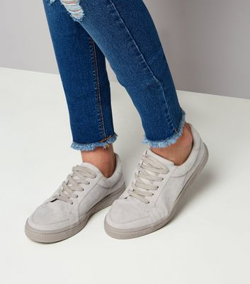 Teens Grey Suedette Lace Up Trainers