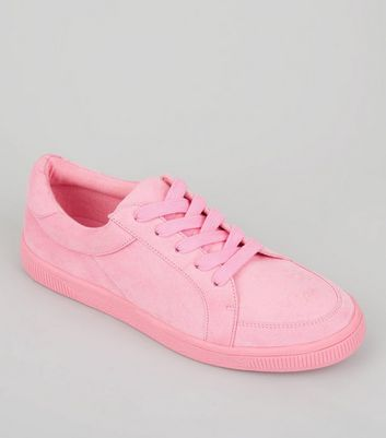 Teens Pink Suedette Lace Up Trainers