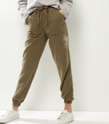 Khaki Rose Embroidered Joggers