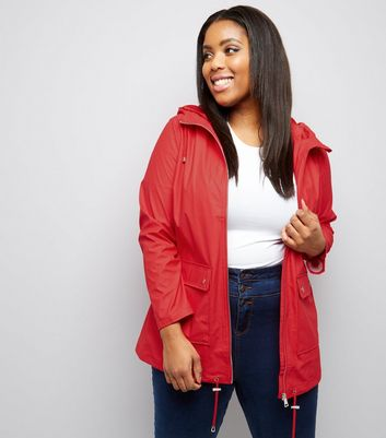 Curves Red Matte Rain Coat