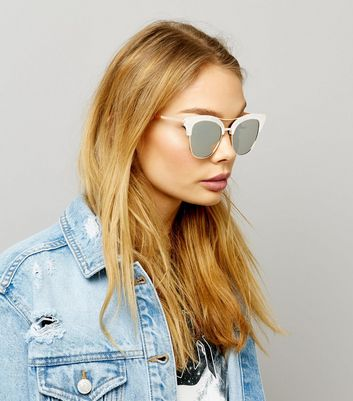 Silver Frosted Bar Detail Sunglasses