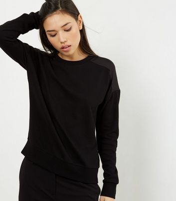 Black Sateen Back Long Sleeve Sweater