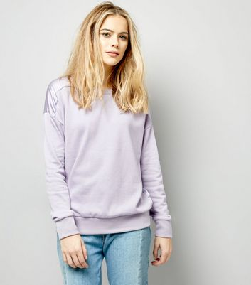 Lilac Sateen Back Long Sleeve Sweater