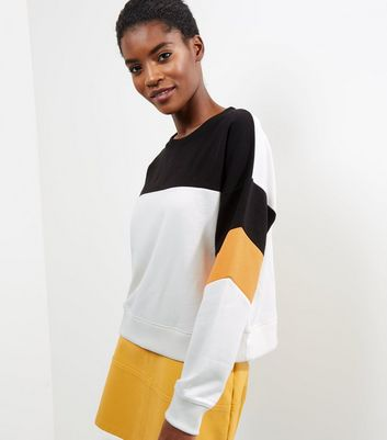 White Colour Block Long Sleeve Sweater