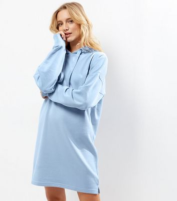Blue Hooded Sweater Dress