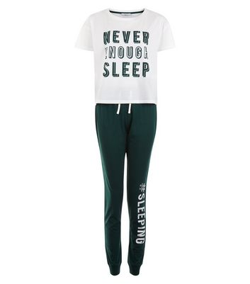 Teens Green Never Sleep Enough Pyjama Set