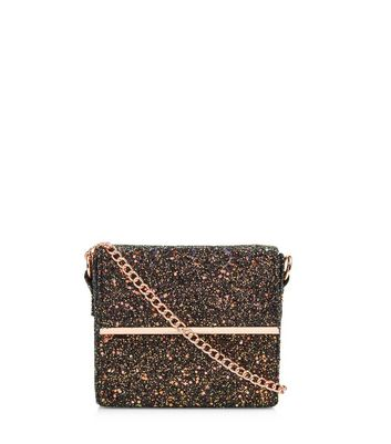 Black Iridescent Glitter Mini Box Bag