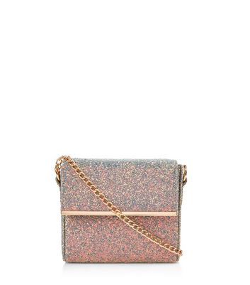 Mini sac rectangulaire bleu clair brillant iridescent