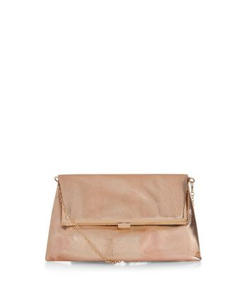 Rose Gold Snakeskin Texture Fold Over Clutch