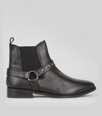 Black Leather Studded Ring Trim Chelsea Boots