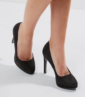Black Suedette Platform Court Shoes
