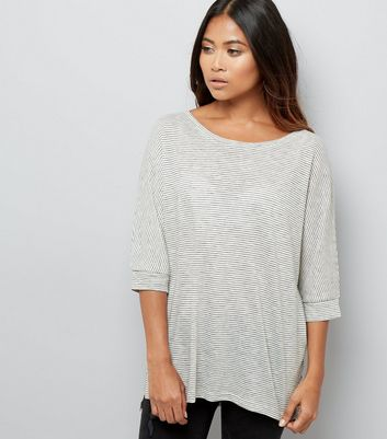 Petite Cream Stripe Batwing Sleeve Top
