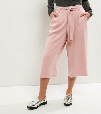 Petite Pink Tie Waist Wide Leg Cropped Trousers