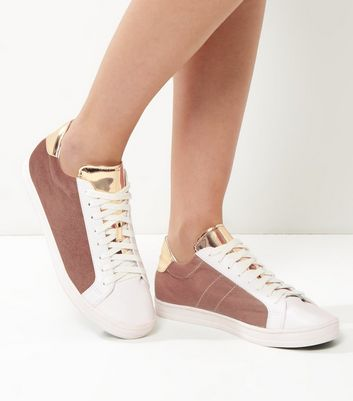 Pink Velvet And Metallic Panel Trainers