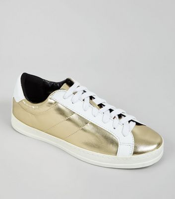 Gold Contrast Panel Lace Up Trainers
