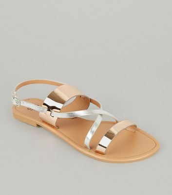 Teens Rose Gold Cross Front Sandals