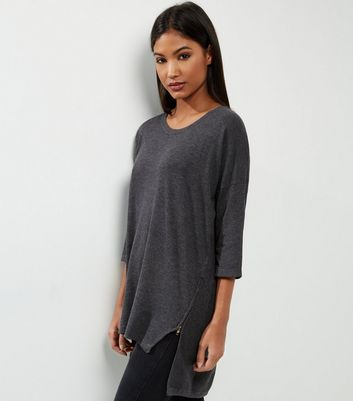 Apricot Dark Grey Zip Side Tunic