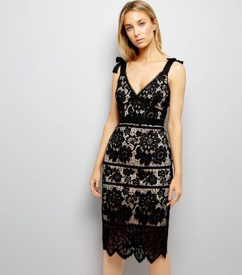 Black Premium Lace Tie Strap Trim Dress