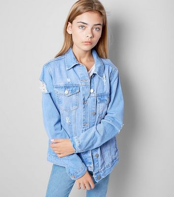 Teens Blue Ripped Denim Jacket