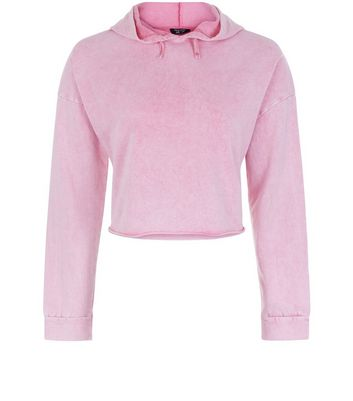 Ados - Sweat court à capuche rose délavé à l'acide