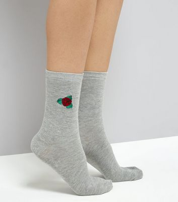 Grey Rose Embroidered Socks