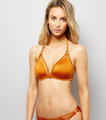 Rust Strappy Ring Front Plunge Bikini Top