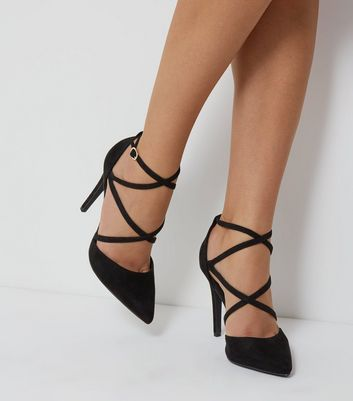 Black Suedette Cross Ankle Strap Pointed Heels