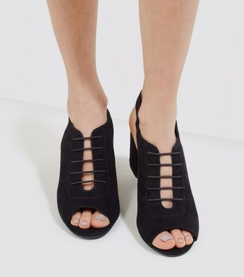 Black Comfort Suedette Lace Up Front Heels