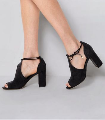 Suedette Open Side Black Pointed Shoe