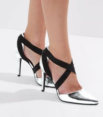 Wide Fit Silver Metallic Elasticated Strap Heeled