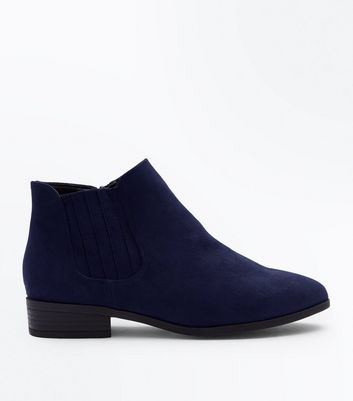 Wide Fit Navy Suedette Chelsea Boots