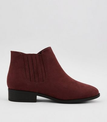 Wide Fit Dark Red Suedette Chelsea Boots