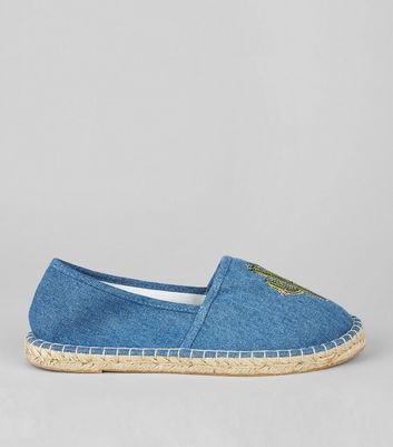Blue Cactus Embroidered Espadrilles