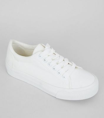 Teens White Lace Up Trainers