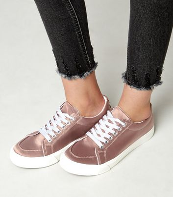 Teens Pink Sateen Lace Up Trainers