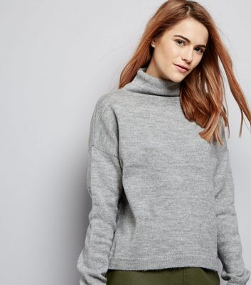 Pale Grey Funnel Neck Cropped Jumper